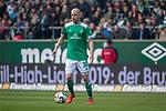 13.04.2019, Weser Stadion, Bremen, GER, 1.FBL, Werder Bremen vs SC Freiburg, <br /> <br /> DFL REGULATIONS PROHIBIT ANY USE OF PHOTOGRAPHS AS IMAGE SEQUENCES AND/OR QUASI-VIDEO.<br /> <br />  im Bild<br /> <br /> Davy Klaassen (Werder Bremen #30)<br /> Einzelaktion, Ganzkörper / Ganzkoerper<br /> <br /> Foto © nordphoto / Kokenge