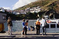 Fähre im Hafen auf der Insel Corvo, Azoren, Portugal