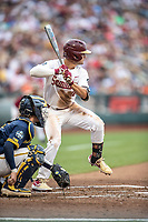 Florida State Seminoles shortstop Mike Salvatore (16) at bat against the Michigan Wolverines in Game 6 of the NCAA College World Series on June 17, 2019 at TD Ameritrade Park in Omaha, Nebraska. Michigan defeated Florida State 2-0. (Andrew Woolley/Four Seam Images)