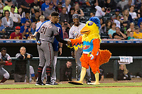 AFL East pitcher Jon Duplantier (31), hitting coach Brian Buchanan, and outfielder Monte Harrison (4) call a truce with the San Diego Chicken between innings of the Fall Stars game at Surprise Stadium on November 3, 2018 in Surprise, Arizona. The AFL West defeated the AFL East 7-6 . (Zachary Lucy/Four Seam Images)