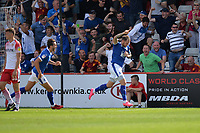 James Norwood of Tranmere Rovers scores the equaliser and celebrates  during Stevenage vs Tranmere Rovers, Sky Bet EFL League 2 Football at the Lamex Stadium on 4th August 2018