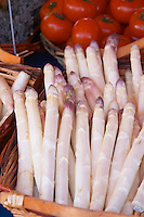 Street market merchant's stall with white violet asparagus Sanary Var Cote d'Azur France