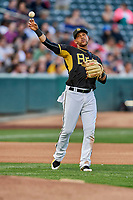 Jose Miguel Fernandez (9) of the Salt Lake Bees during the game against the Sacramento River Cats at Smith's Ballpark on May 17, 2018 in Salt Lake City, Utah. Salt Lake defeated Sacramento 12-11. (Stephen Smith/Four Seam Images)