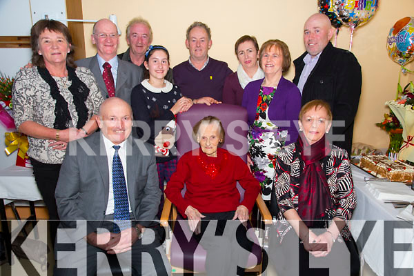 Sheila Kelleher  from Beaufort celebrating her 100th Birthday  in Ardagh Ward of the Kerry Genral Hospital on Thursday. Pictured here with family Peter Kelleher, Breda Manton, Mary Kelleher. Eugene Manton, Kathleen Kelleher, Norman Kelleher, Ava Sullivan, Tom Kelleher, Colette Sullivan, Finbar Kelleher.
