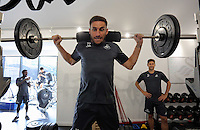 Pictured: Angel Rangel lifts weights in the gym Wednesday 14 September 2016<br />