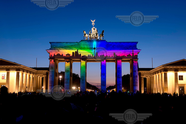 The Festival of Lights at the Brandenburg Gate, the world's largest illumination festival. Every October Berlin is transformed by an artistically enchanting world full of light art and creative productions.