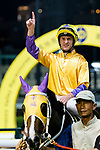 #1 Jockey Zac Purton riding Doctor Geoff celebrates after winning the race 5 during Hong Kong Racing at Happy Valley Racecourse on June 27, 2018 in Hong Kong, Hong Kong. Photo by Marcio Rodrigo Machado / Power Sport Images