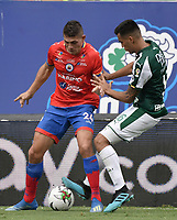 PALMIRA - COLOMBIA, 01-09-2019: Christian Rivera del Cali disputa el balón con Nicolas Roa de Pasto durante partido entre Deportivo Cali y Deportivo Pasto por la fecha 9 de la Liga Águila II 2019 jugado en el estadio Deportivo Cali de la ciudad de Palmira. / Christian Rivera of Cali vies for the ball with Nicolas Roa of Pasto during match between Deportivo Cali and Deportivo Pasto for the date 9 as part Aguila League II 2019 played at Deportivo Cali stadium in Palmira city. Photo: VizzorImage / Gabriel Aponte / Staff