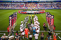 The Portland Timbers and the New York Red Bulls enter the field for pre-game introductions. The New York Red Bulls  defeated the Portland Timbers 3-2 during a Major League Soccer (MLS) match at Red Bull Arena in Harrison, NJ, on August 19, 2012.