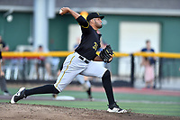 Bristol Pirates starting pitcher Adrian Florencio (31) delivers a pitch during game three of the Appalachian League, West Division Playoffs against the Johnson City Cardinals at TVA Credit Union Ballpark on August 31, 2019 in Johnson City, Tennessee. The Cardinals defeated the Pirates 7-4 to even the series at 1-1. (Tony Farlow/Four Seam Images)