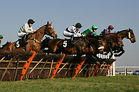 """The field in jumping action during the Call Star Sports On 08000 521321 """"National Hunt"""" Novices Hurdle"""