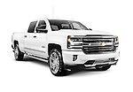White 2017 Chevrolet Silverado 1500 Pickup Truck with High Country trim isolated on white background with clipping path
