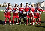 Ahly Al-Khalil football club's players pose for a group picture before their match with FC Khujand during the football match crucial AFC Champions League Playoff phase at Dura Stadium in the West Bank city of Hebron on Feb. 09, 2016. Mahmoud Wadi claimed the only goal of the game in the 21st minute, when he had the time and space to pick his spot after good work down the right from Khaldun Halman set him up to score from close range. Victory means Ahly Al-Khalil will feature in Group D of this season's continental championship, where they will face Bahrain's Al Muharraq, Fanja from Oman and Syrian side Al Jaish, winners of the inaugural AFC Cup in 2004. Photo by Wisam Hashlamoun