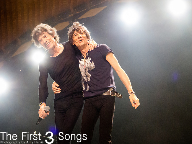 Ronnie Wood and Mick Jagger of The Rolling Stones perform at TD Garden in Boston, Massachusetts.