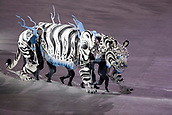 9th February 2018, Pyeongchang, South Korea; 2018 Winter Olympic Games; PyeongChang Olympic Stadium; A White Tiger puppet walking in to the stadium as part of the Opening Ceremony