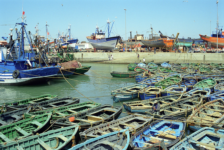 The fishing boat pier at Essouira, Morocco