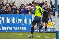 Matthew Warburton (Stockport County) celebrates after scoring during the Vanarama National League North match between Nuneaton Town and Stockport County at the Liberty Way Stadium, Nuneaton, England on 27 April 2019. Photo by James  Gill.
