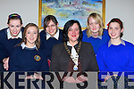 Schoolgirls Maura O'Sullivan, Megan Doherty, Rachel Garret Rathmore, Rachel Fitzgerald and Caoimhe Bonner Milltown who competed in the Soroptomists Killarney area public speaking competition with Anne Lucey Soroptomists President in the Gleneagle Hotel on Tuesday night    Copyright Kerry's Eye 2008