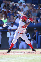 Yonny Hernandez (7) of the Spokane Indians bats against the Hillsboro Hops at Ron Tonkin Field on July 22, 2017 in Hillsboro, Oregon. Spokane defeated Hillsboro, 11-4. (Larry Goren/Four Seam Images)