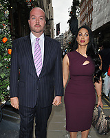 "Jonathan Sothcott and Janine Nerissa at the ""The Gatekeeper"" by Russ Kane book launch party, The Wellington Club, Jermyn Street, London, England, UK, on Thursday 30th May 2019.<br /> CAP/CAN<br /> ©CAN/Capital Pictures"