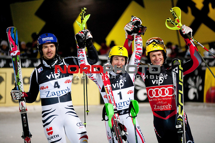 05.01.2012, Crveni Spust, Sljeme, CRO, FIS Weltcup Ski Alpin, Zagreb, Herren Slalom 2. Durchgang, im Bild Second placed NEUREUTHER Felix (GER), winner and &quot;Snow King 2012&quot; HIRSCHER Marcel (AUT) and third placed KOSTELIC Ivica (CRO) // after men Slalom race 2nd run of FIS Ski Alpine World Cup at 'Crveni Spust' course in Sljeme, Zagreb, Croatia on 2012/01/05. Foto &copy; nph /    Vid Ponikvar<br /> <br /> ***** ATTENTION - OUT OF SLO ***** *** Local Caption ***