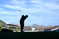 Hideki Matsuyama (JPN) on the 16th tee during the 1st round of the Waste Management Phoenix Open, TPC Scottsdale, Scottsdale, Arisona, USA. 31/01/2019.<br /> Picture Fran Caffrey / Golffile.ie<br /> <br /> All photo usage must carry mandatory copyright credit (&copy; Golffile | Fran Caffrey)