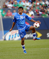El Salvador's Reynaldo Hernandez receives the ball.  El Salvador defeated Cuba 6-1 at the 2011 CONCACAF Gold Cup at Soldier Field in Chicago, IL on June 12, 2011.
