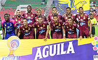 IBAGUE – COLOMBIA, 03-10-2019: Jugadores del Tolima posan para una foto previo al partido entre Deportes Tolima y Deportivo Cali por la fecha 14 de la Liga Águila II 2019 jugado en el estadio Manuel Murillo Toro de la ciudad de Ibagué. / Players of Tolima pose to a photo prior match between Deportes Tolima and Deportivo Cali for the date 14 as part of Aguila League II 2019 played at Manuel Murillo Toro stadium in Ibague. Photo: VizzorImage / Juan Carlos Escobar / Cont