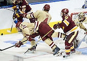 Bill Arnold (BC - 24), Tommy Cross (BC - 4), Mike Seidel (Duluth - 17) - The Boston College Eagles defeated the University of Minnesota Duluth Bulldogs 4-0 to win the NCAA Northeast Regional on Sunday, March 25, 2012, at the DCU Center in Worcester, Massachusetts.