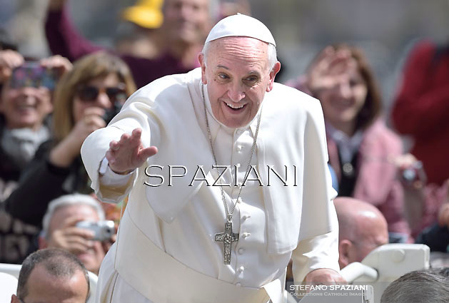 Pope Francis during his weekly general audience in St. Peter square at the Vatican, Wednesday.April 2, 2014.