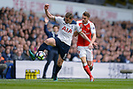 Jan Vertonghen of Tottenham Hotspur is challenged by Aaron Ramsey of Arsenal during the English Premier League match at the White Hart Lane Stadium, London. Picture date: April 30th, 2017.Pic credit should read: Robin Parker/Sportimage