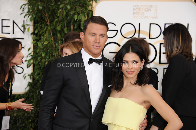 WWW.ACEPIXS.COM<br /> <br /> January 11 2015, LA<br /> <br /> Jenna Dewan Tatum and Channing Tatum arriving at the 72nd Annual Golden Globe Awards at The Beverly Hilton Hotel on January 11, 2015 in Beverly Hills, California. <br /> <br /> <br /> By Line: Peter West/ACE Pictures<br /> <br /> <br /> ACE Pictures, Inc.<br /> tel: 646 769 0430<br /> Email: info@acepixs.com<br /> www.acepixs.com
