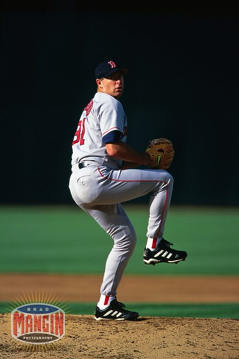OAKLAND, CA - Jeff Fassero of the Boston Red Sox pitches during a game against the Oakland Athletics at the Oakland Coliseum in Oakland, California in 2000. Photo by Brad Mangin