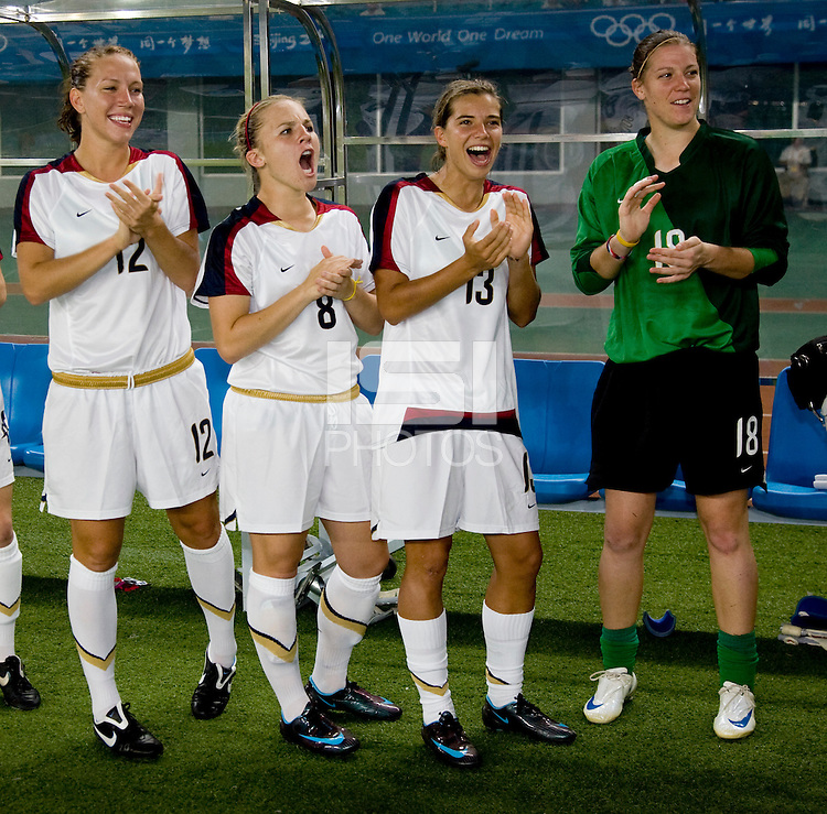 Lauren Cheney, Amy Rodriguez, Tobin Heath, Nicole Barnhart. The US lost to Norway, 2-0, during first round play at the 2008 Beijing Olympics in Qinhuangdao, China.