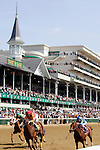 Racehorses finish a race at Churchill Downs in Louisville, Kentucky on May 6, 2006.  Barbaro, ridden by Edgar Prado, won the 132nd Kentucky Derby in the tenth race of the day....