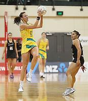 01.09.2010 Australian Rebecca Bulley in action during the Silver Ferns v Australia New World netball test match in Wellington. Mandatory Photo Credit ©Michael Bradley.
