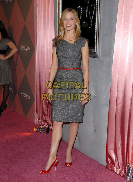 SARAH JANE MORRIS.The 7th Annual DIC and In Style Luncheon held at The Beverly Hills Hotel in Beverly Hills, California, USA..January 10th, 2008.full length grey gray dress sleeveless red slingback shoes peep toe belt .CAP/DVS.©Debbie VanStory/Capital Pictures