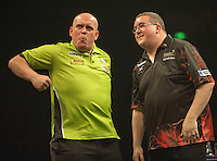 09.04.2015. Sheffield, England. Betway Premier League Darts. Matchday 10.  Michael van Gerwen [NED] celebrates his win over Stephen Bunting [ENG]