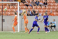 Houston, TX - Saturday Sept. 03, 2016: Kristen Edmonds celebrates scoring, Monica Hickman Alves during a regular season National Women's Soccer League (NWSL) match between the Houston Dash and the Orlando Pride at BBVA Compass Stadium.