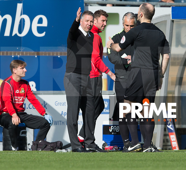 Doncaster Rovers manager Darren Ferguson has words with referee Graham Horwood during the Sky Bet League 2 match between Wycombe Wanderers and Doncaster Rovers at Adams Park, High Wycombe, England on 22 April 2017. Photo by James Williamson / PRiME Media Images.