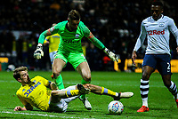 Leeds United's Patrick Bamford battles with Preston North End's Declan Rudd<br /> <br /> Photographer Alex Dodd/CameraSport<br /> <br /> The EFL Sky Bet Championship - Preston North End v Leeds United -Tuesday 9th April 2019 - Deepdale Stadium - Preston<br /> <br /> World Copyright &copy; 2019 CameraSport. All rights reserved. 43 Linden Ave. Countesthorpe. Leicester. England. LE8 5PG - Tel: +44 (0) 116 277 4147 - admin@camerasport.com - www.camerasport.com