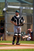 Chicago State Cougars catcher Patrick Arndt (21) during a game against the Indiana State Sycamores on February 23, 2020 at North Charlotte Regional Park in Port Charlotte, Florida.  Chicago State defeated Indiana State 3-0.  (Mike Janes/Four Seam Images)