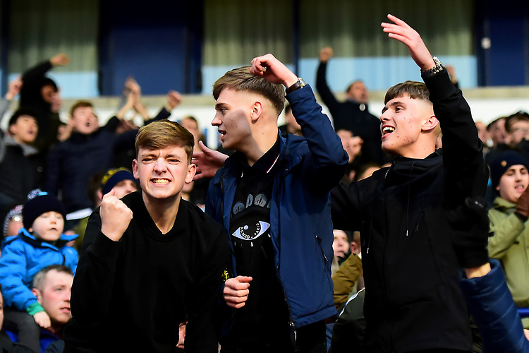 Preston North End fans celebrate<br /> <br /> Photographer Richard Martin-Roberts/CameraSport<br /> <br /> The EFL Sky Bet Championship - Bolton Wanderers v Preston North End - Saturday 9th February 2019 - University of Bolton Stadium - Bolton<br /> <br /> World Copyright &copy; 2019 CameraSport. All rights reserved. 43 Linden Ave. Countesthorpe. Leicester. England. LE8 5PG - Tel: +44 (0) 116 277 4147 - admin@camerasport.com - www.camerasport.com