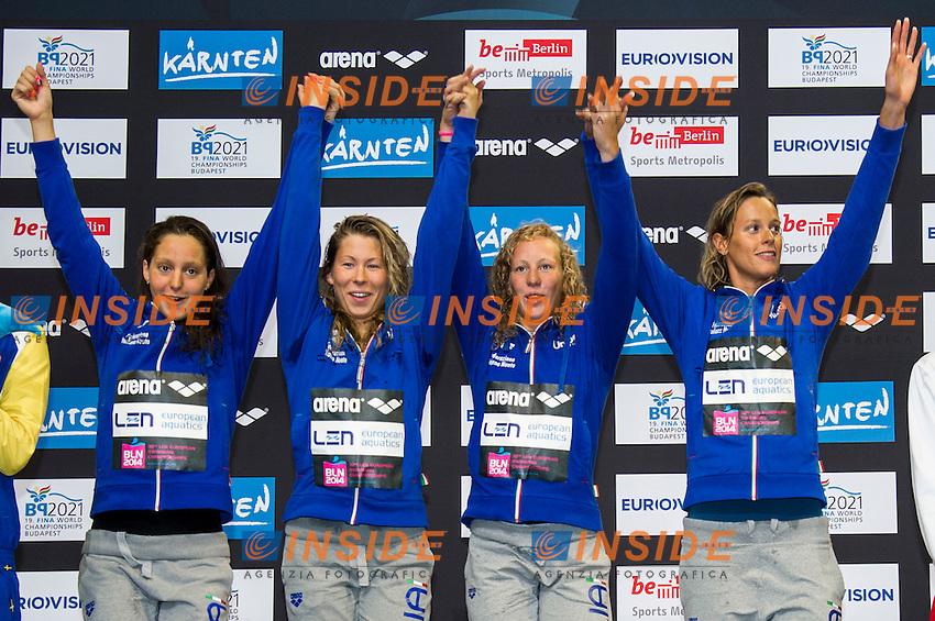 MIZZAU Alice ITA<br /> PIROZZI Stefania ITA<br /> MASINI LUCCETTI Chiara ITA<br /> PELLEGRINI Federica ITA<br /> Team Italy Gold Medal<br /> 4x200m Freestyle Women Final<br /> 32nd LEN European Championships <br /> Berlin, Germany 2014  Aug.13 th - Aug. 24 th<br /> Day09 - Aug. 21<br /> Photo G. Scala/Deepbluemedia/Inside