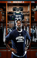 Cornerback Marcus Trufant stands in the Seattle Seahawks locker room at their new headquarters, the Virginia Mason Athletics Center in Renton, Wash. Thursday, Aug. 20, 2008. (Photo by Andy Rogers).