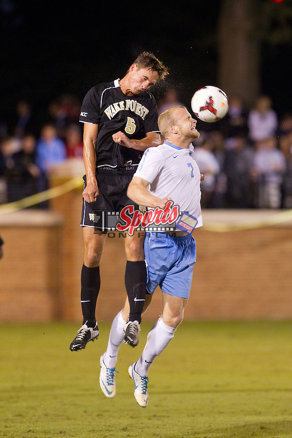 at Spry Soccer Stadium on September 28, 2013 in Winston-Salem, North Carolina.  The Demon Deacons and the Tar Heels played to a 1-1 tie.  (Brian Westerholt/Sports On Film)