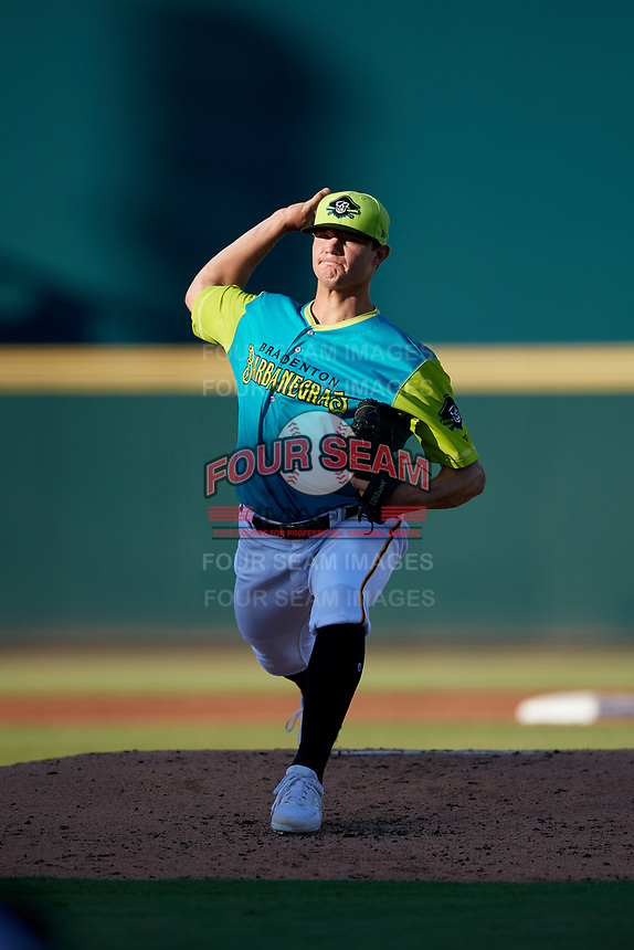 Bradenton Barbanegras starting pitcher Aaron Shortridge (24) during a Florida State League game against the St. Lucie Mets on July 27, 2019 at LECOM Park in Bradenton, Florida.  Bradenton defeated St. Lucie 3-2.  (Mike Janes/Four Seam Images)