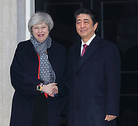 Prime Minister Theresa May and Prime Minister Shinzo Abe of Japan are seen on the steps of 10 Downing Street, London on January 10th 2018<br /> CAP/ROS<br /> &copy;ROS/Capital Pictures