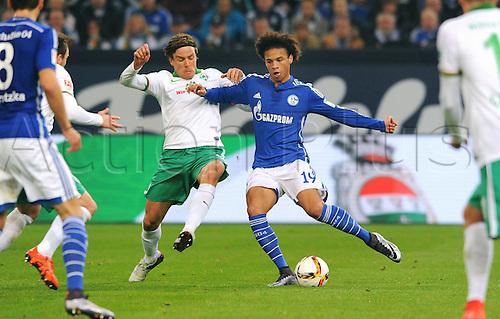 24.01.2016. Gelsenkirchen, Germany. German Bundesliga soccer match between FC Schalke 04 and Werder Bremen in the Veltins Arena. Leroy Sane (S04), Clemens Fritz (Bremen)