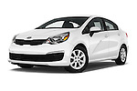 Stock pictures of low aggressive front three quarter view of 2016 KIA Rio LX-AT 4 Door Sedan Low Aggressive